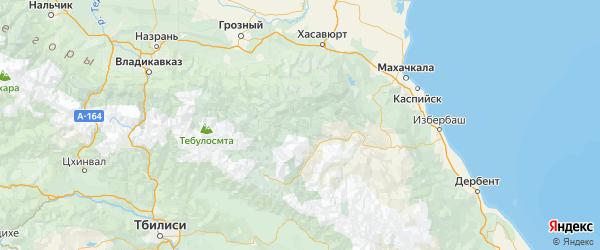 Карта Ахвахского района республики Дагестан с населенными пунктами и городами