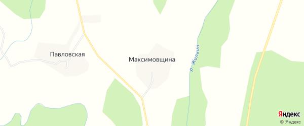 Карта деревни Максимовщина в Вологодской области с улицами и номерами домов