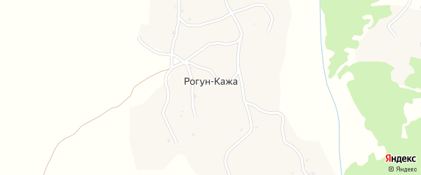 Улица А.Кадырова на карте села Рогуна-Кажи Чечни с номерами домов