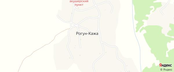 Улица Ахаева на карте села Рогуна-Кажи Чечни с номерами домов
