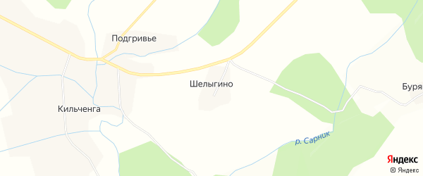 Карта деревни Шелыгино в Вологодской области с улицами и номерами домов
