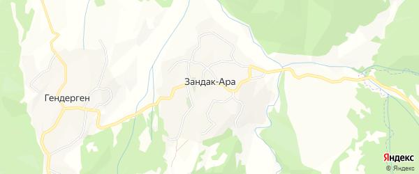 Карта села Зандака-Ары в Чечне с улицами и номерами домов