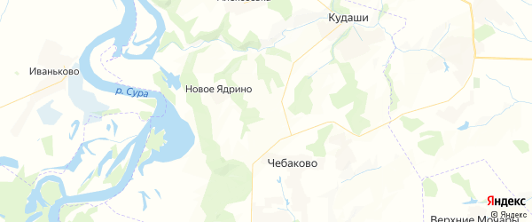 Карта Чебаковского сельского поселения Республики Чувашии с районами, улицами и номерами домов