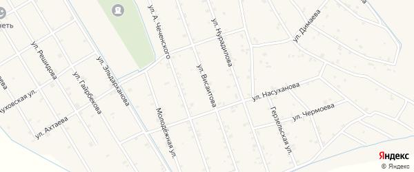 Улица Висаитова на карте села Энгель-юрт с номерами домов