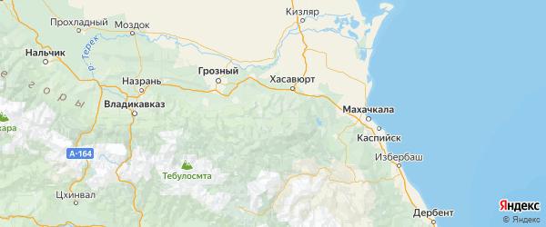 Карта Ножай-Юртовский района республики Чечня с городами и населенными пунктами