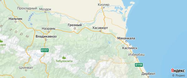 Карта Ножай-Юртовский района Республики Чечни с городами и населенными пунктами