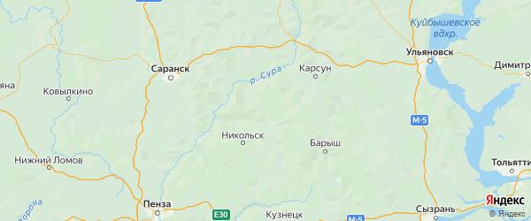 Карта Инзенского района Ульяновской области с городами и населенными пунктами