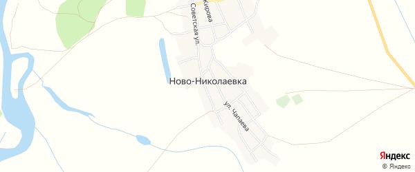Карта села Ново-Николаевки в Астраханской области с улицами и номерами домов