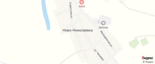 Переулок Фрунзе на карте села Ново-Николаевки Астраханской области с номерами домов