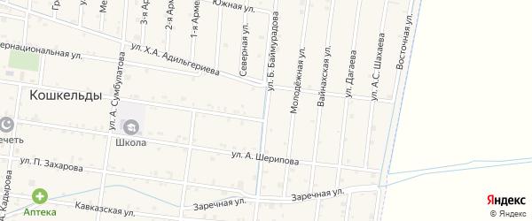 Улица Б.Баймурадова на карте села Кошкельды с номерами домов
