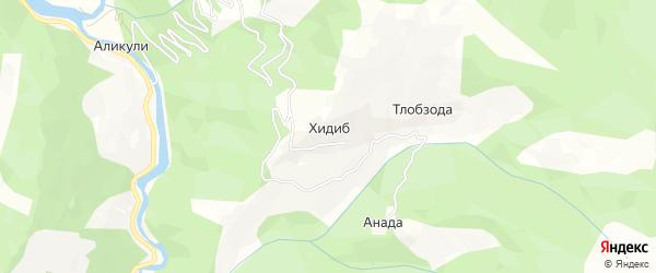 Карта села Хидиба в Дагестане с улицами и номерами домов