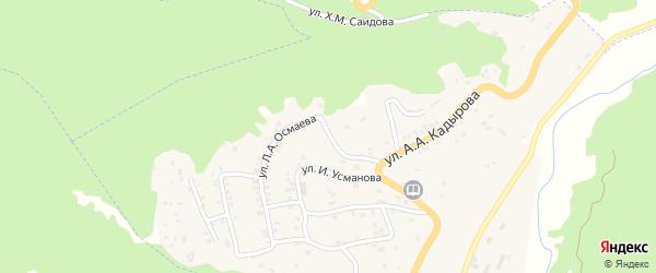 Улица Л.А.Осмаева на карте села Ножая-Юрт Чечни с номерами домов
