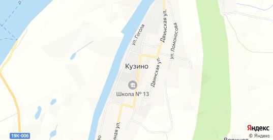 Карта поселка Кузино в Великом Устюге с улицами, домами и почтовыми отделениями со спутника онлайн