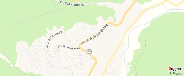 Улица А.А.Кадырова на карте села Ножая-Юрт Чечни с номерами домов