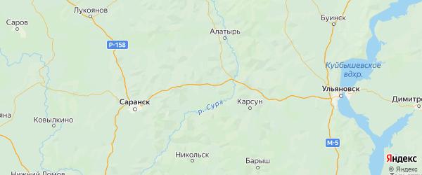 Карта Дубенского района Республики Мордовии с городами и населенными пунктами
