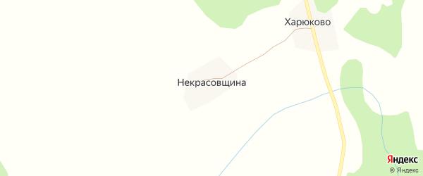 Радужная улица на карте деревни Некрасовщина Вологодской области с номерами домов