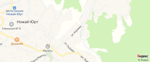 Улица Г.Ахриева на карте села Ножая-Юрт Чечни с номерами домов