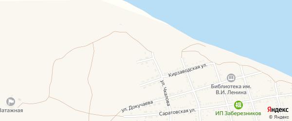 Кирзаводской переулок на карте Никольского села Астраханской области с номерами домов