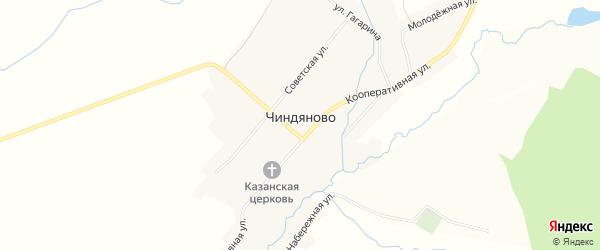 Карта села Чиндяново в Мордовии с улицами и номерами домов