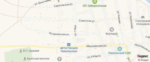 1 Мая улица на карте Никольского села Астраханской области с номерами домов