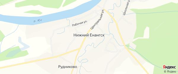 Карта села Нижнего Енангска в Вологодской области с улицами и номерами домов