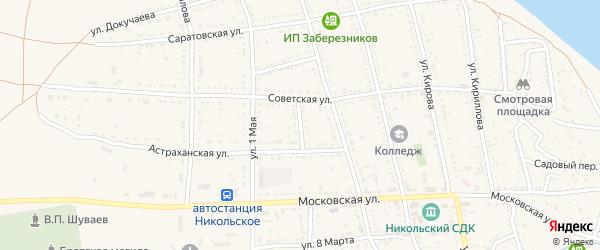 Астраханский переулок на карте Никольского села Астраханской области с номерами домов
