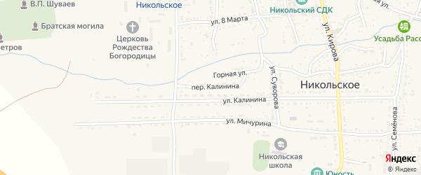 Переулок Калинина на карте Никольского села Астраханской области с номерами домов