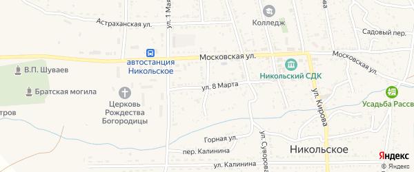 Ленинградская улица на карте Никольского села Астраханской области с номерами домов