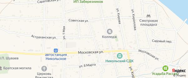 Улица Суворова на карте Никольского села Астраханской области с номерами домов
