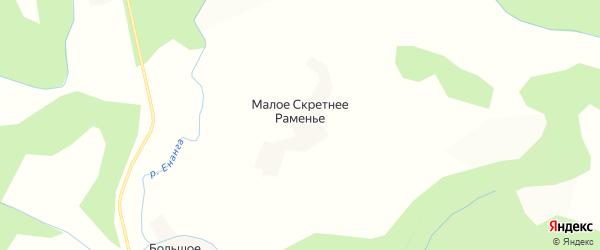 Карта деревни Малого Скретнее Раменья в Вологодской области с улицами и номерами домов