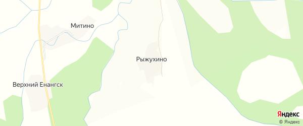 Карта деревни Рыжухино в Вологодской области с улицами и номерами домов