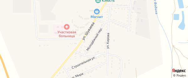 Молодежный переулок на карте Никольского села Астраханской области с номерами домов