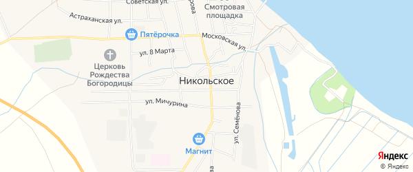 Садовое товарищество Дар на карте Никольского села Астраханской области с номерами домов