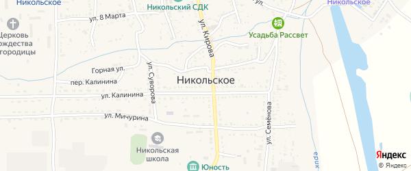 Береговая улица на карте Никольского села Астраханской области с номерами домов