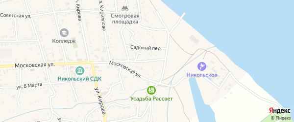 Московский переулок на карте Никольского села Астраханской области с номерами домов