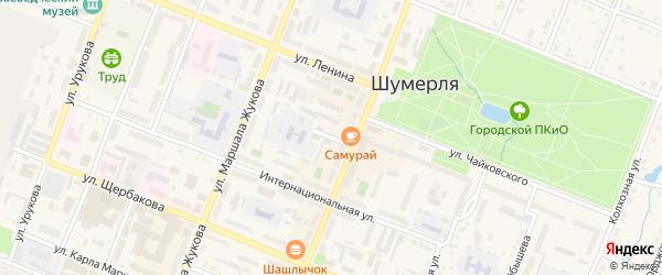 Школьный переулок на карте Шумерли с номерами домов