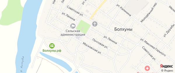 Улица Ленина на карте села Болхуны Астраханской области с номерами домов