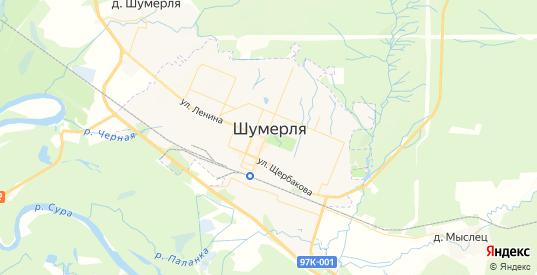 Карта Шумерли с улицами и домами подробная. Показать со спутника номера домов онлайн