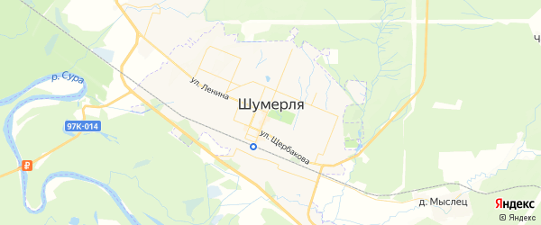Карта Шумерли с районами, улицами и номерами домов