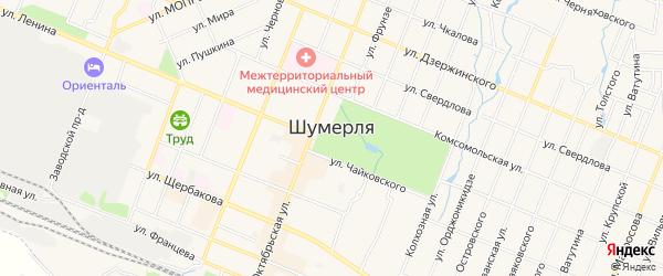 Садовое товарищество Малютка на карте Шумерли с номерами домов