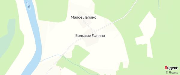 Карта деревни Большого Лапино в Вологодской области с улицами и номерами домов