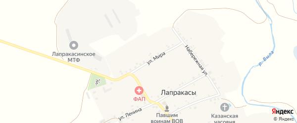 Улица Мира на карте деревни Лапракасы с номерами домов