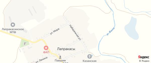 Набережная улица на карте деревни Лапракасы с номерами домов