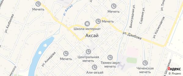Зеленая улица на карте села Аксая с номерами домов