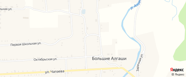 Набережная улица на карте села Большие Алгаши с номерами домов