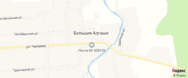 Первомайская площадь на карте села Большие Алгаши с номерами домов
