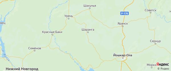 Карта Шарангского района Нижегородской области с городами и населенными пунктами