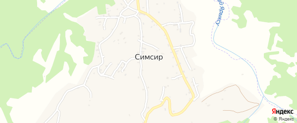 Родниковая улица на карте села Симсир Чечни с номерами домов