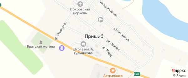 Молодежная улица на карте села Пришиба Астраханской области с номерами домов