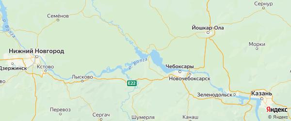 Карта Горномарийского района Республики Марий Эл с городами и населенными пунктами
